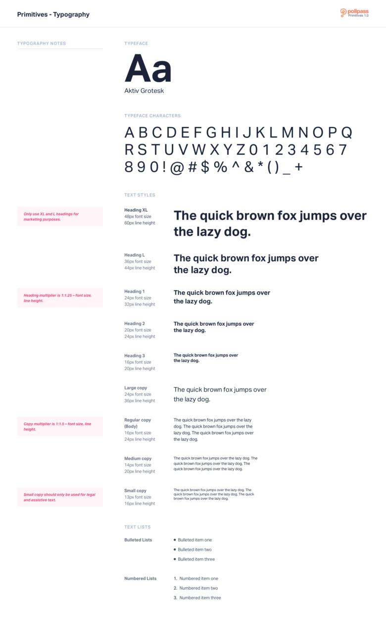 Pollpass Global UI Kit - Typography