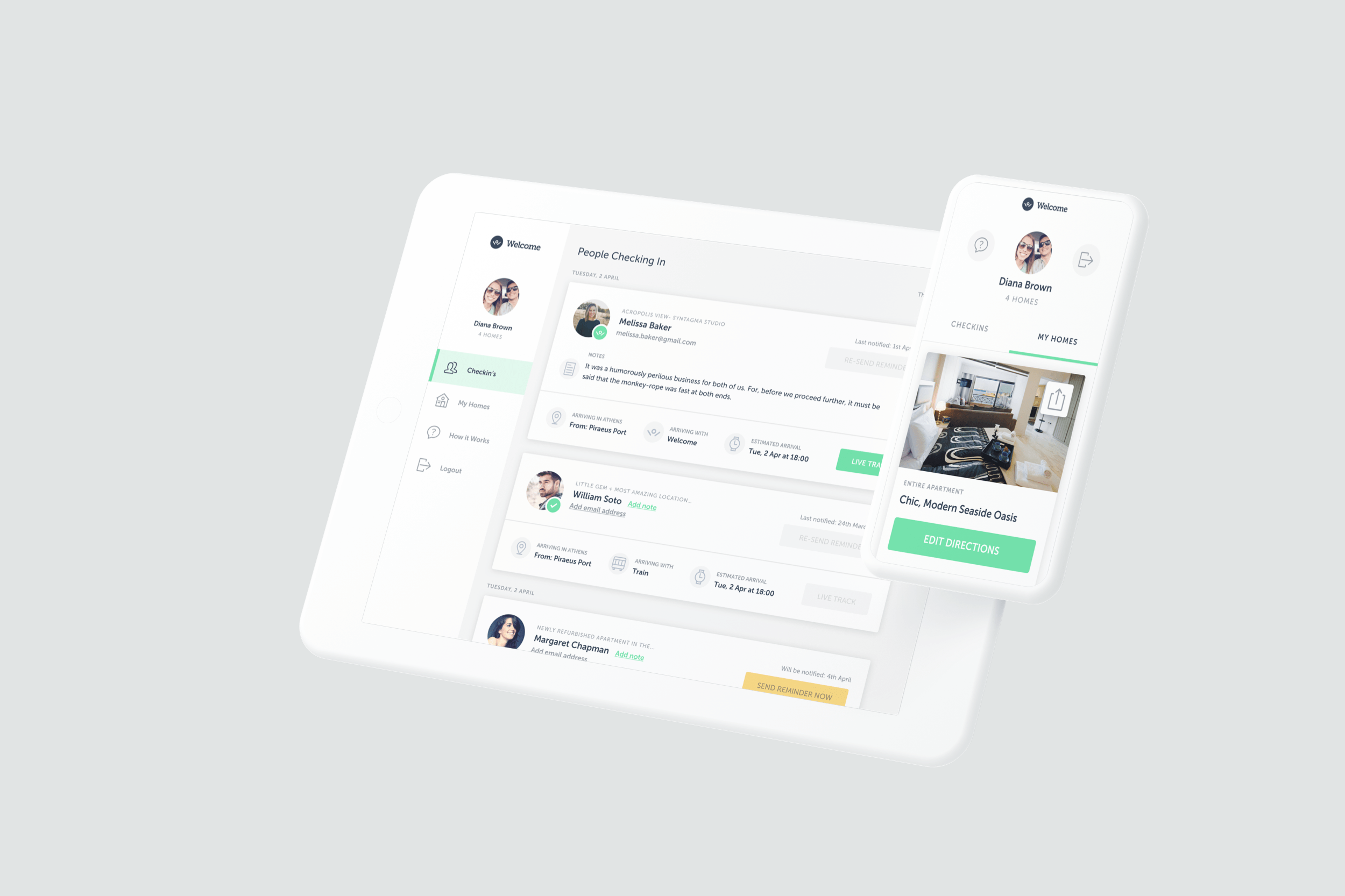 Welcome Pickups BnB Dashboard Guest Check-in's